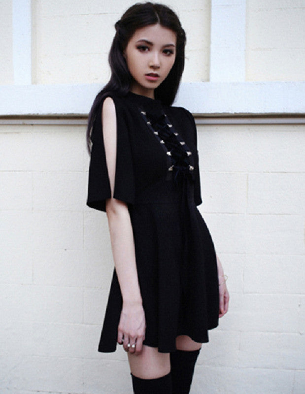 Ribbon Decorated Gothic  Black Dress