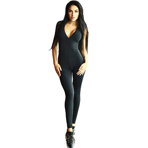 Elasticity Fitness Jumpsuit Bandage Backless Sexy Skinny Bodysuit