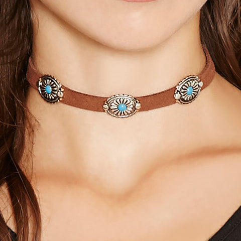 Boho Ethnic Vintage Leather Choker Necklace