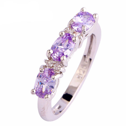 Elegant Lady Tourmaline White CZ Silver Color Ring