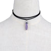 Fashion chic leather natural crystal stone opal choker necklace