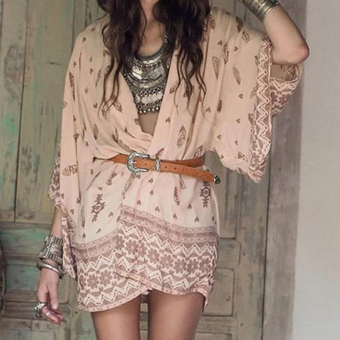 Chiffon Boho Floral Printed Long Sleeve Casual Blouse