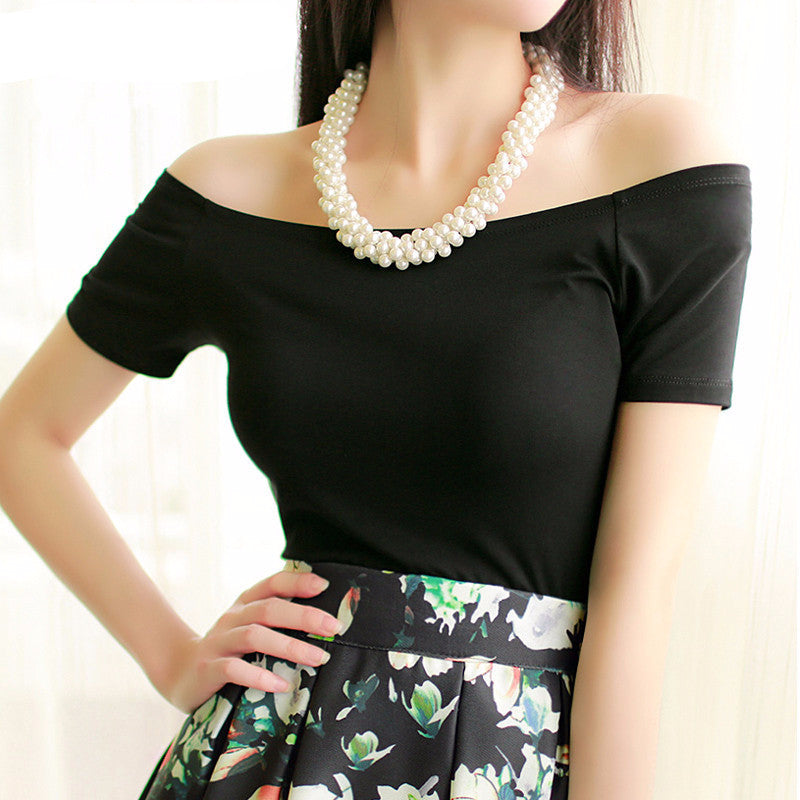 Sexy Off The Shoulder Tops Casual Short Sleeve Cotton Blouse