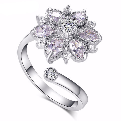 Big Flower Adjustable Cubic Zirconia Fine Ring
