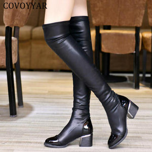 Over Knee Sequined Toe Elastic Stretch Punk Style PU Leather Boots