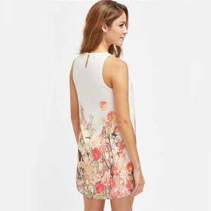Multicolor Sleeveless Flower Print Boho Dress