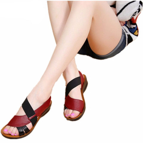 Soft bottom middle-aged comfortable PU leather Sandals