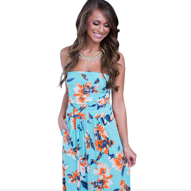 Sundress Tunic Off Shoulder Floor Length Long Maxi Dress