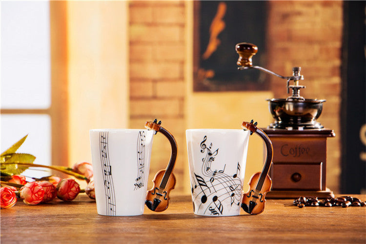 Violin Ceramic Coffee Mug 240ml Coffee for Gift Or Personal Cafe Teatime Office