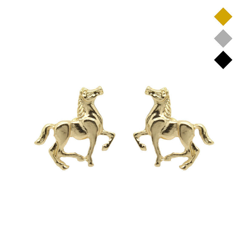 Pretty Gold/Silver/Black Small Horse Earrings