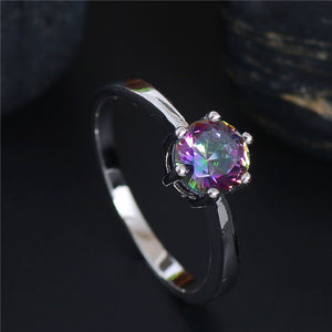 Multicolor Elegant Wedding Bands Silver & Cubic Zirconia Ring