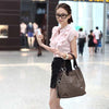 Versatile Handbag Soft PU Leather Zipper Splice Grafting Vintage Shoulder Crossbody Bag