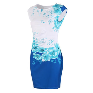 Formal And Sexy Party Evening Pencil Sleeveless Floral Mini Dress
