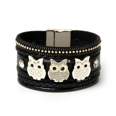 Fashion Owl Metal Plate Decoration Charm White/Black Bracelet