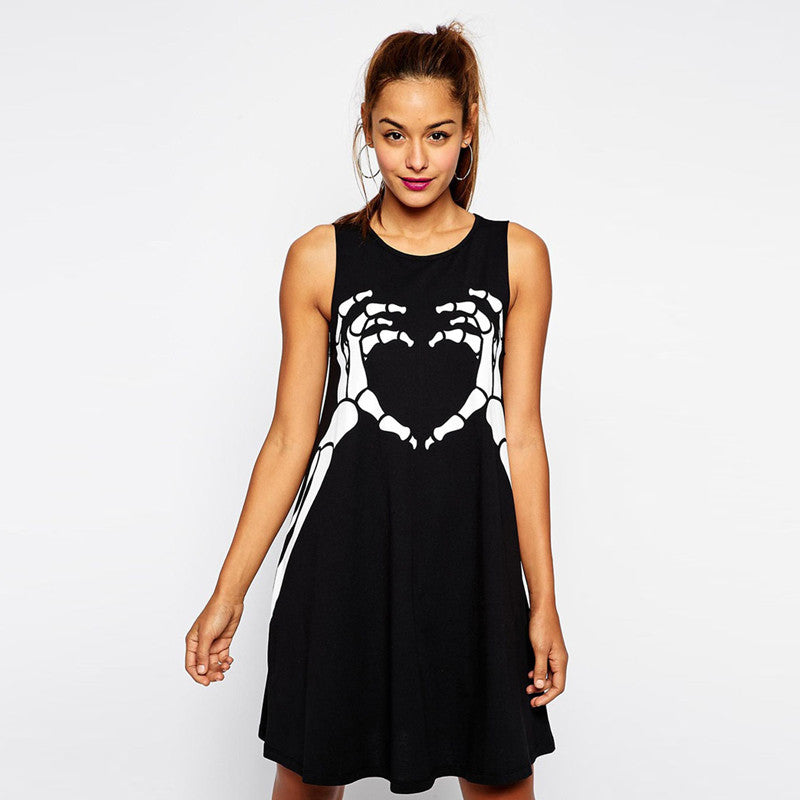 Skull Printed Gothic Punk Sleeveless Dress