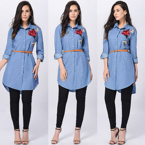 Ostrich Rose Embroidered Women Long Sleeve Collared Long Shirt