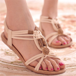 String Bead And Elastic Bands Flat Bohemian Sandals