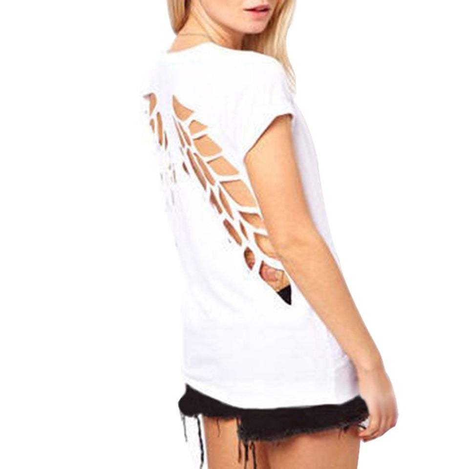 Laser Backless Angel Wings Blouse