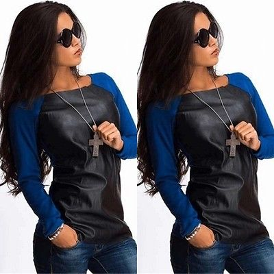 Black Long Sleeve Imitation Leather Casual Loose Boat Neck Blouse