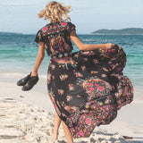 BellFlower Boho Etehnic Sexy Print Retro Vintage Dress