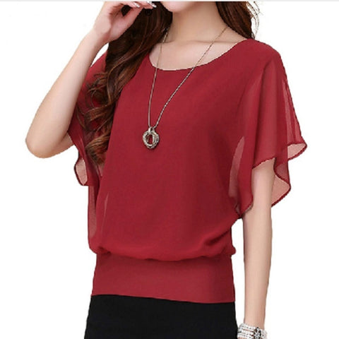 Chiffon Plus Size Ruffle Batwing Short Sleeve Casual Blouse