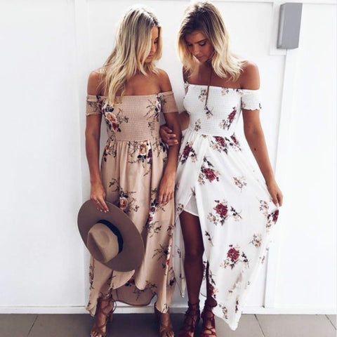 Boho style long Off shoulder Floral print Vintage maxi dress