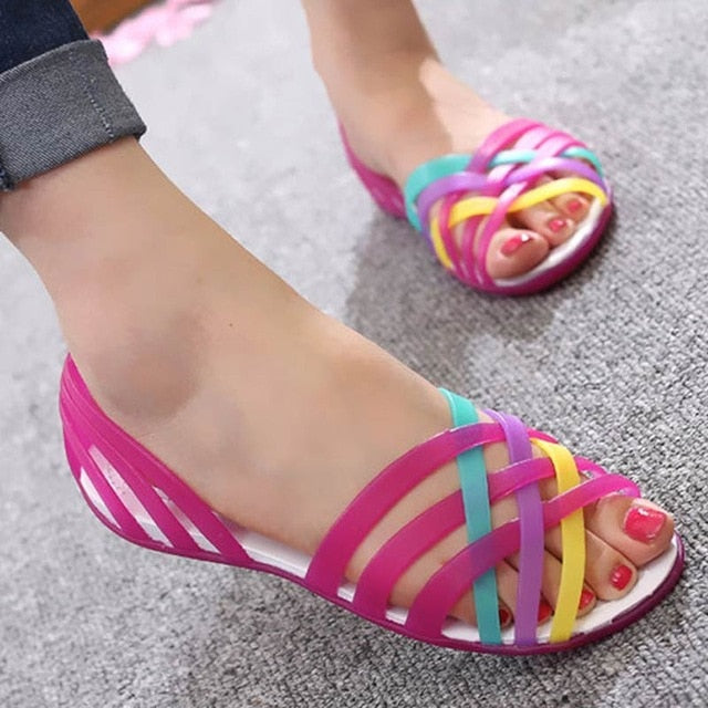 New Candy Color Peep Toe Rainbow Jelly Sandals