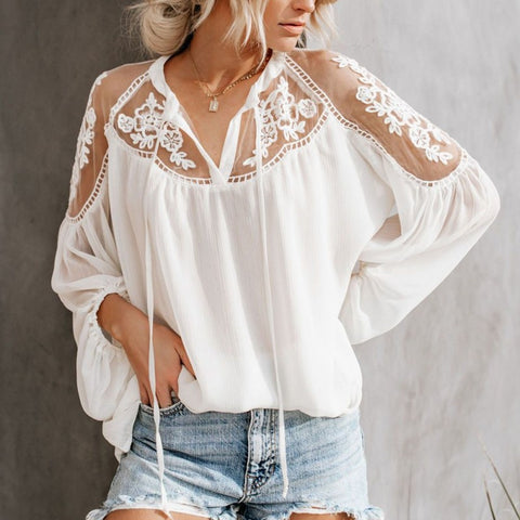 Sexy Lace Mesh Shirt Embroidery Patchwork