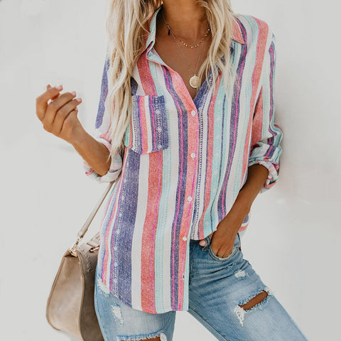 Fashion Color Stripes Large Women Blouse