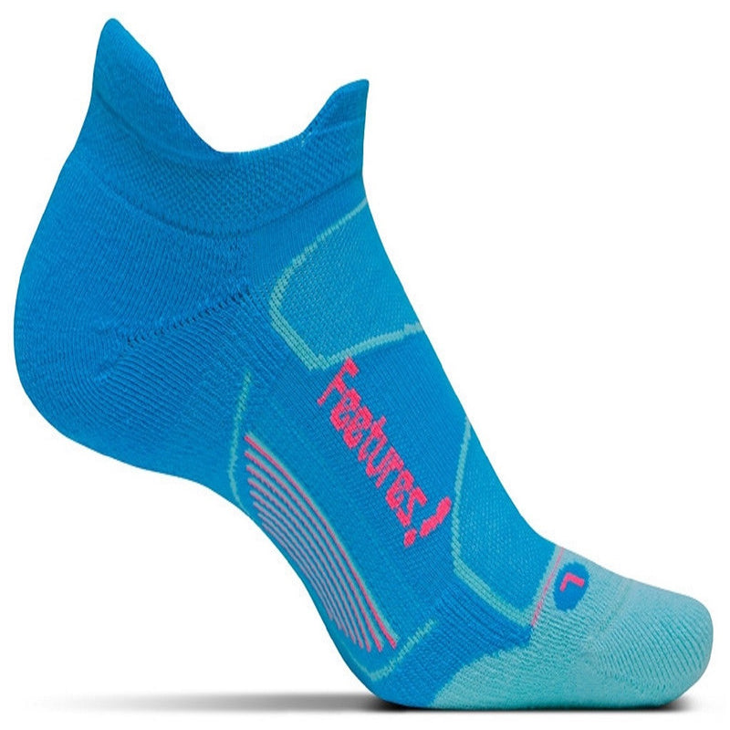 Feetures Socks - Elite Max Cushion - No Tab - Hawaiian Blue/Electric Pink
