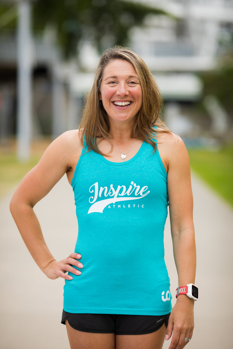 Ladies IA Singlet - Jade/White