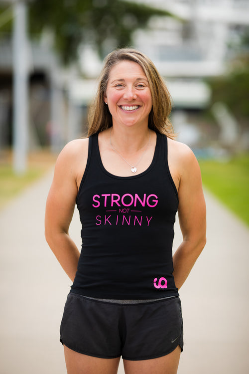 Inspire Athletic Singlet - Strong not Skinny - Black/Pink -