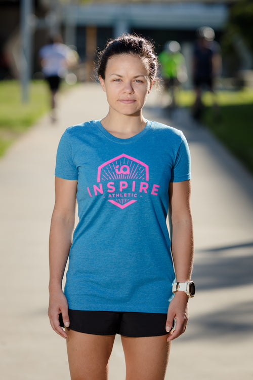 Female Tee with Inspire Athletic Design - Blue