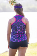 Inspire Athletic Running Singlet | female cut | Pink Hex Design