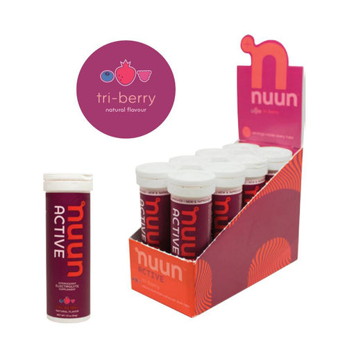 Nuun Active, Tri Berry Flavoured Electrolyte Tablets. 10 Tablets per tube