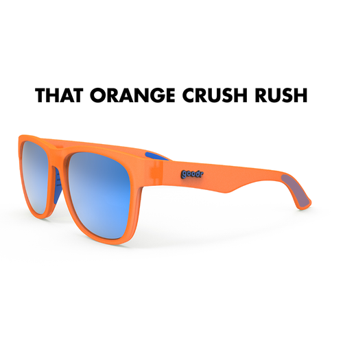 GoodR That Orange Crush Rush Sunglasses. These BFG's are made with wider frames, longer arms and bigger lenses.