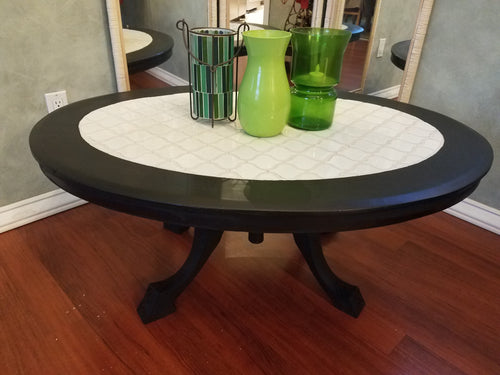 Unique Vintage Mosaic Tile Top Coffee Table
