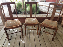 Revamped Pair (2) of Antique Side Chairs - Grey & Yellow