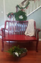 Upcycled Vintage Walnut Bench - Red