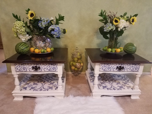Upcycled (Pair) Vintage Ethan Allen End Tables