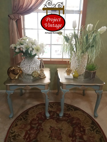 Upcycled Pair (2) Vintage, Elegant End Tables