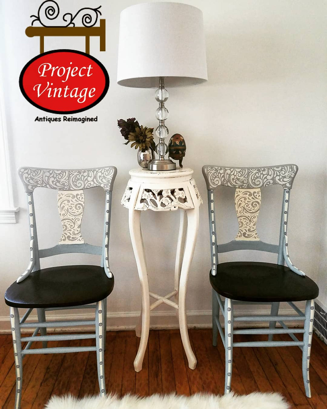 Reinvented (Pair) Vintage Early American Side Chairs