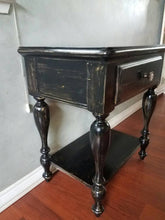 Vintage Pine Nightstand - Ebony Stained and Distressed