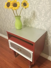 Midcentury Side Table - Red and Silver