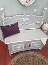 Vintage Storage Bench w/ French Wooden Headboard