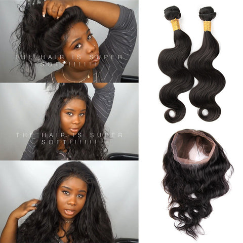 Ivy Dear Recommend Pre Plucked 360 Lace Frontal With 2pcs Brazilian Body Wave Hot Beauty Hair 360 lace frontal with bundles