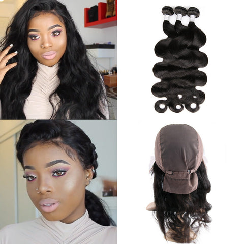 Toni Olaoye Recommend Hot Beauty Hair Pre Plucked 360 Lace Band Frontal With Cap Add 3pcs Peruvian Body Wave 4pcs/Lot