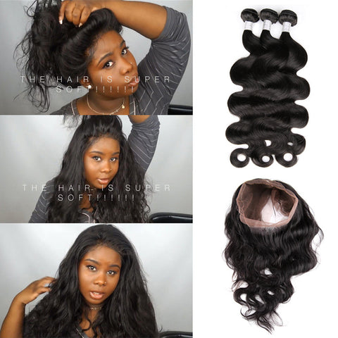 Ivy Dear Recommend Pre Plucked 360 Lace Frontal With 3pcs Peruvian Body Wave Hot Beauty Hair 360 lace frontal with bundles