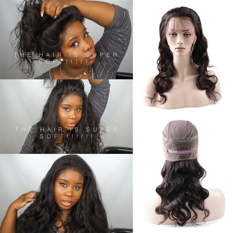 New Upgraded 360 Full Lace Frontal with Cap Peruvian Body Wave Pre Plucked Natural Hairline Hot Beauty Hair 360 Lace Band