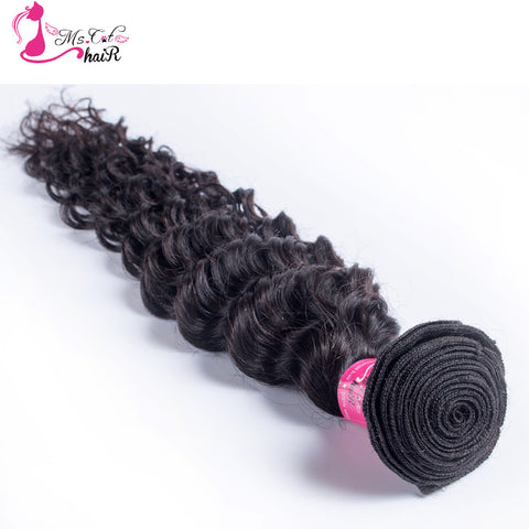 Deep Wave Brazilian Hair Ms Cat Hair 1 Bundle Natural Color 100% Curly Human Hair Weave